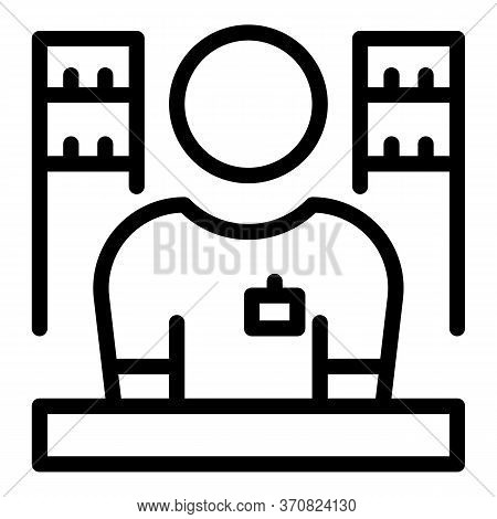 Store Salesman Icon. Outline Store Salesman Vector Icon For Web Design Isolated On White Background