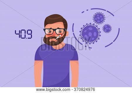 Cartoon Hipster Bearded Young Man With Coronavirus Fever Symptom. Flat Style Character Vector Illust