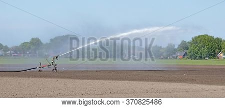 Field Is Irrigated By A Big Water Jet In The Dutch Countryside In Springtime