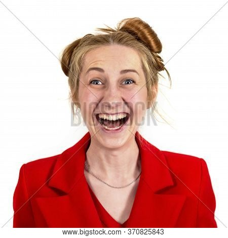 Funny, Happy, Laughing Young Girl Student, With An Interesting Hairstyle, Openly Laughing And Lookin