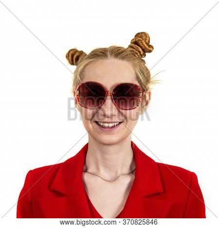 Funny, Happy, Laughing Young Girl Student, With An Interesting Hairstyle And Sunglasses, Openly Laug