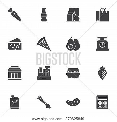 Grocery Store Vector Icons Set, Modern Solid Symbol Collection, Filled Style Pictogram Pack. Signs,