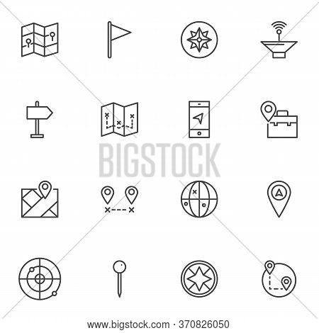 Location Navigation Line Icons Set, Outline Vector Symbol Collection, Linear Style Pictogram Pack. S