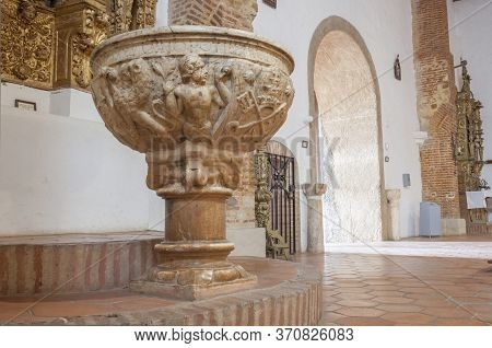 Hornachos, Spain - May 31st 2020: Baptismal Font Of Purisima Concepcion Church. Here Were Force To B