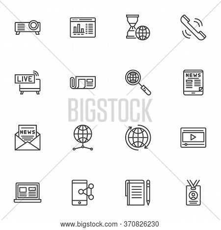 News Journal Line Icons Set, Outline Vector Symbol Collection, Linear Style Pictogram Pack. Signs, L
