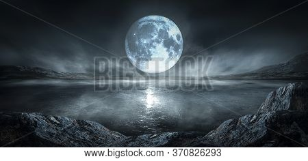 Modern Futuristic Fantasy Night Landscape With Abstract Islands And Night Sky With Space Galaxies. M