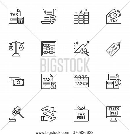Taxes Line Icons Set, Outline Vector Symbol Collection, Financial Banking Linear Style Pictogram Pac