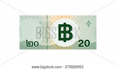 20 Baht Banknote Money Thai Isolated On White, Thai Currency Twenty Thb, Money Thailand Baht, Illust