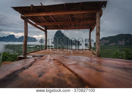 The Scenery Of The Sametnangshe Island Looks Through The Wooden Shack In Phang-nga Province, Thailan