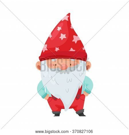 Fantastic Gnome Character With White Beard And Red Pointed Hat Standing With Hands On Hips Vector Il