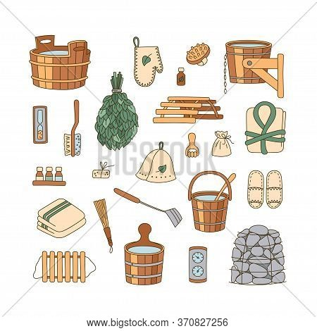 Sauna Accessories - Washer, Broom, Tub, Bucket, Pot And Other. Bathhouse Wooden Accessories. Set Of