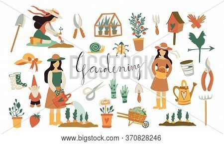 The Girl Is Engaged In Summer Gardening. Set Of Vector Flat Hand Drawn Illustrations Of A Girl Perfo