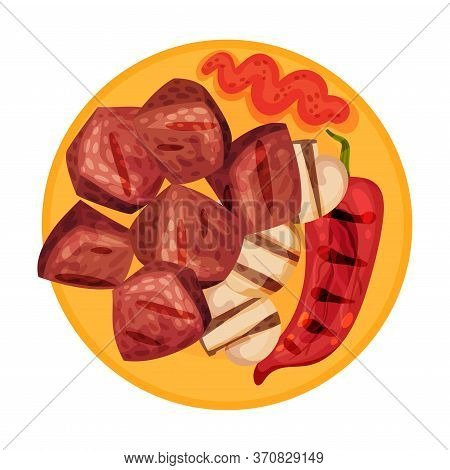 Shashlik Or Slabs Of Grilled Meat Rested On Plate With Mushroom And Sauce Vector Illustration