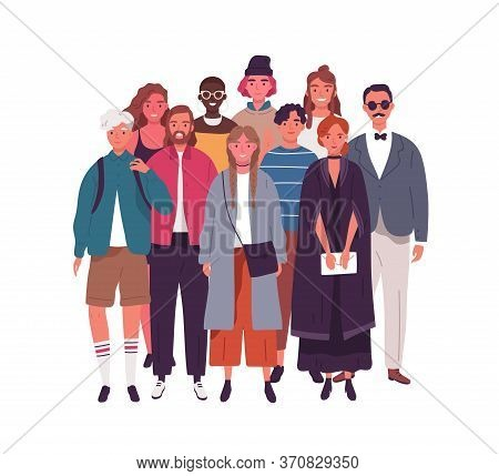 Group Of Smiling Young Multinational Man And Woman Vector Flat Illustration. Crowd Of Happy Diverse