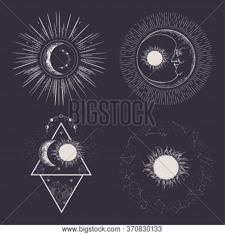 Sun, Stars And Crescent. Moon Face. Vintage Illustration.