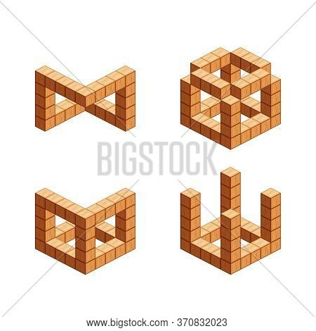 Wooden Cubes Isometric For Children Learning, Wood Cubes Isolated On White, 3d Cubes Wood For Logic