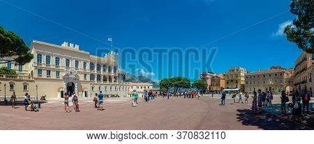 Monaco-ville, Monaco - June 13, 2019 : The Prince S Palace Of Monaco, With Guards, The Official Resi