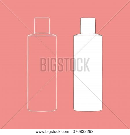 Linear Bottle Of Shampoo, Balsam, Cream, Or Other Cosmetic Product. Cosmetic. Vector Illustration.