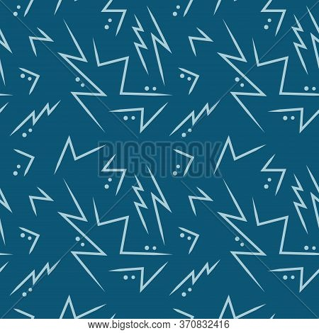 Seamless Pattern Of Geometric Jagged Line And Circle Dots On Light Blue And Deep Navy Background. Re