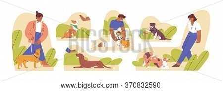 Set Of Woman And Man Teaching Domestic Animal Vector Flat Illustration. Collection Of Caring Owners