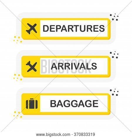 Information Panel On The Direction Of Arrivals And Departures And Baggage At Airports. Yellow Banner