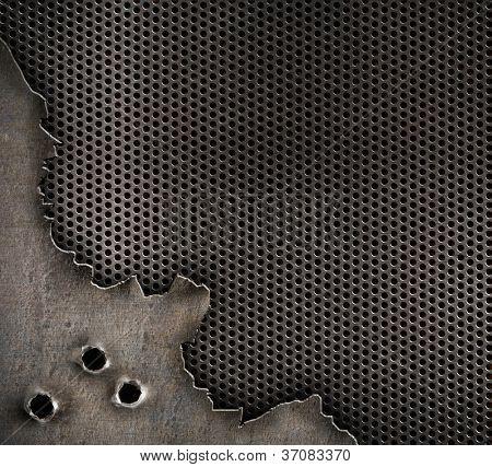 metal com fundo de buracos de bala