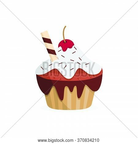Yummy Cherry Cupcake. Sweet Food. Isolated Vector Illustration