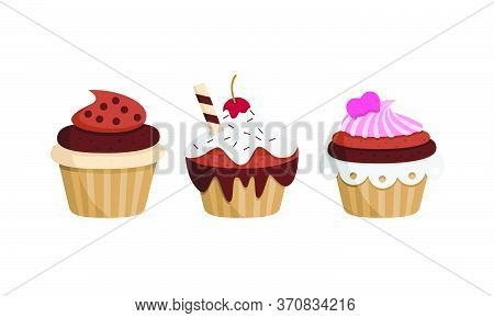 Yummy Cupcakes. Sweet Food. Isolated Vector Illustration