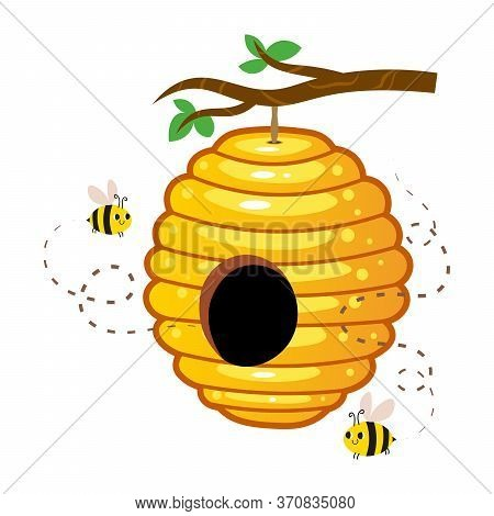 Yellow Honey Hive With Cute Bees Hanging On A Tree Branch Vector Image. Cartoon Illustration Isolate