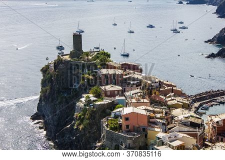 Vernazza, Italy - July 8, 2017: View Of Vernazza Village On A Sunny Day