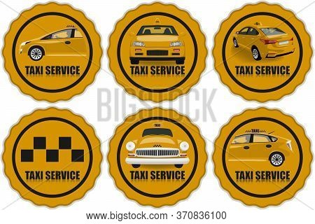 Taxi Service Icons Set. Taxi Icons.yellow Illustration On A Taxi Theme