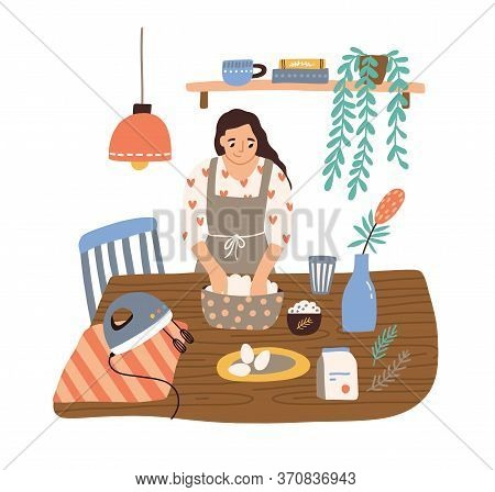 Smiling Housewife Cooking At Cozy Kitchen Vector Flat Illustration. Happy Domestic Woman In Apron Mi