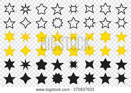 Set Of Star Icons In Different Shapes. Line Icons Of Stars. Golden Star Icons. Big Collection Of Sta
