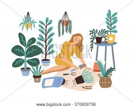 Female Cultivating Home Garden Vector Flat Illustration. Woman Enjoy Gardening Taking Care Of Housep