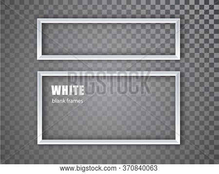White Realistic Empty Picture Frame On Transparent Background. Blank White Picture Frame Mockup Temp
