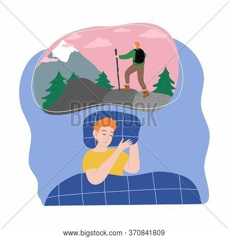 Boy Slepping And Seing Himself Traveling In Mountains In Night Dream