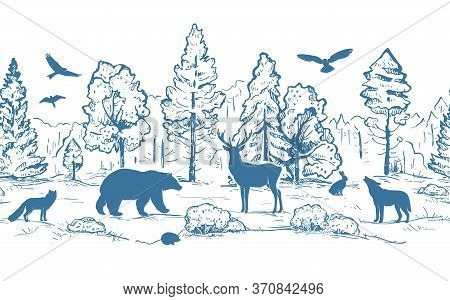 Sketch Vector Horizontal Seamless Border From Trees And Animals. Blue Animals Silhouettes And Forest