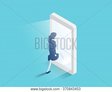 Businessman Enters A Glowing Smartphone Screen. Digital Portal And Access. Isometric Business Vector