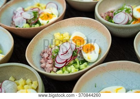 Catering. Set Of Products For Okroshka Is A Traditional Dish Of Russian National Cuisine, Cold Soup.