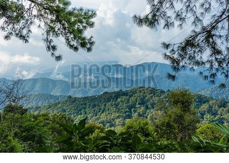 Top View Landscape Mountain And Blue Sky And Beautiful Clouds.