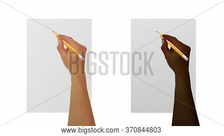 Black And White Hands With A Pencil Writes On White Paper. Template For Notes, Empty Sheet, Blank, F