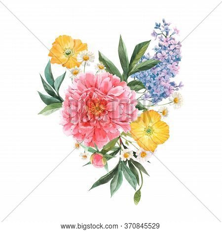 Beautiful Vector Floral Bouquet Composition With Watercolor Pink Peony And Yellow Poppy Flowers. Sto