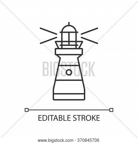 Lighthouse Pixel Perfect Linear Icon. Maritime Navigational Landmark Thin Line Customizable Illustra