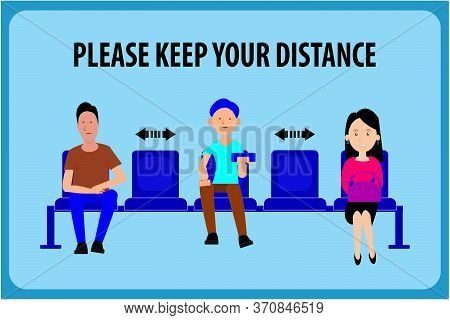 Keep Distance, Advice For Social Distancing,when Sitting In A Chair,flat Illustration Cartoon Social