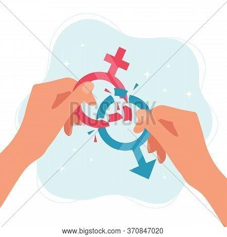 Gender Norms Concept. Hands Holding Gender Symbols Breaking In Pieces. Vector Illustration In Flat S
