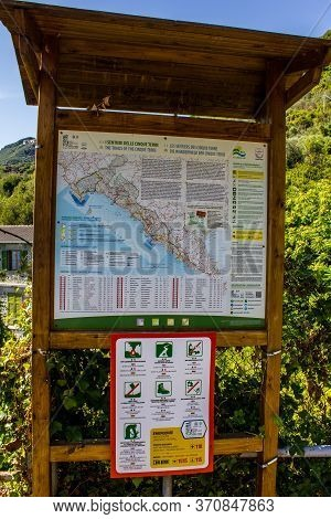 Cinque Terre, Italy - July 8, 2017: Board With Map Of Hiking Trails And Signs Explaining The Rules W