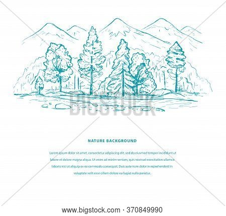 Nature Tourism Template With Mountains, Forest, River And Space For Your Text. Sketch Design In Blue