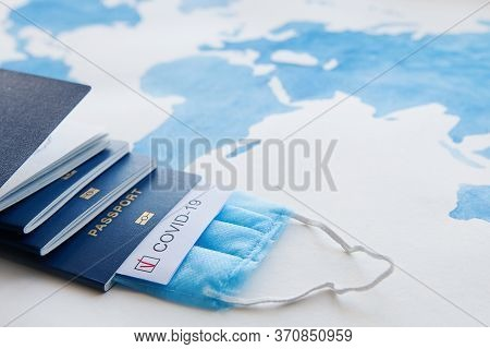 Immunity Passport, Risk-free Certificate Concept. Passports With Note Covid-19 With Red Check Mark,