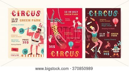 Set Of Advertisement Circus Show Posters Vector Flat Illustration. Collection Of Invitation With Man