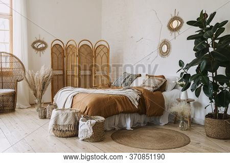 Comfortable Apartment In Bohemian Style Interior With Hygge Bedroom, Pillow And Bedspread On Bed, Ba